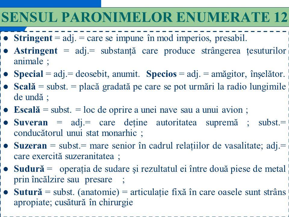 SENSUL PARONIMELOR ENUMERATE 12