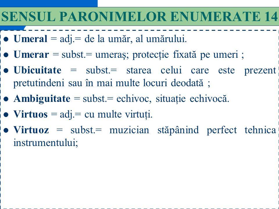 SENSUL PARONIMELOR ENUMERATE 14