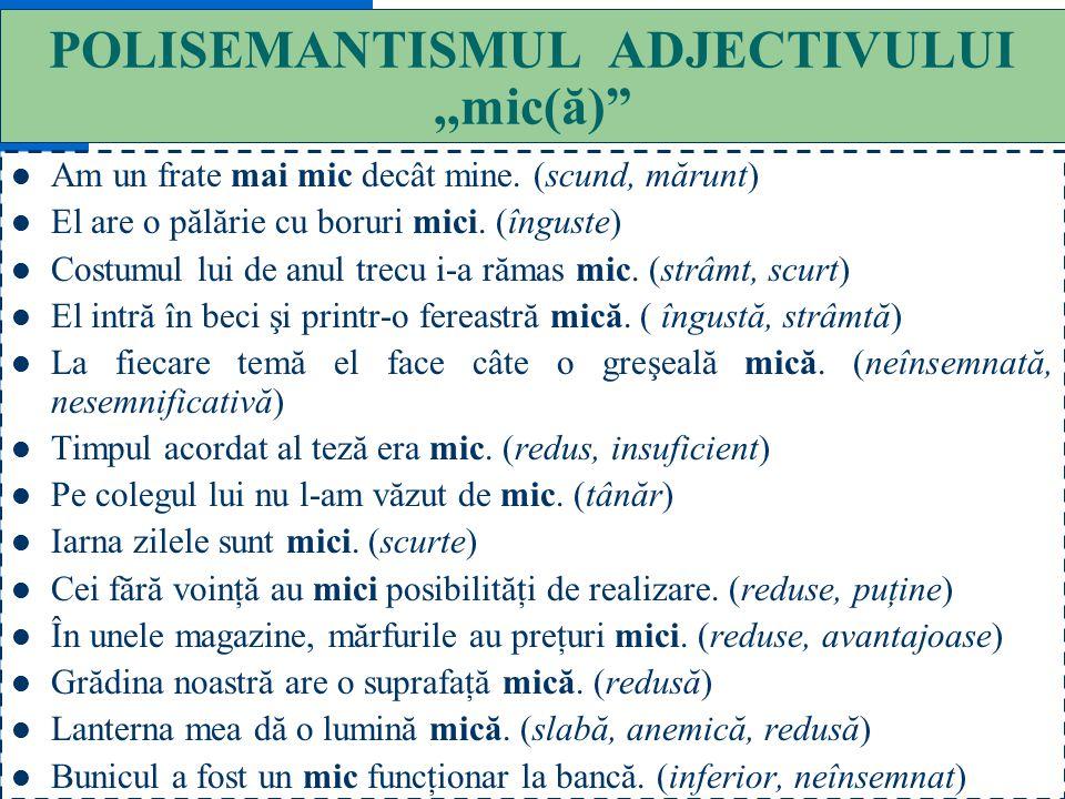 POLISEMANTISMUL ADJECTIVULUI ,,mic(ă)