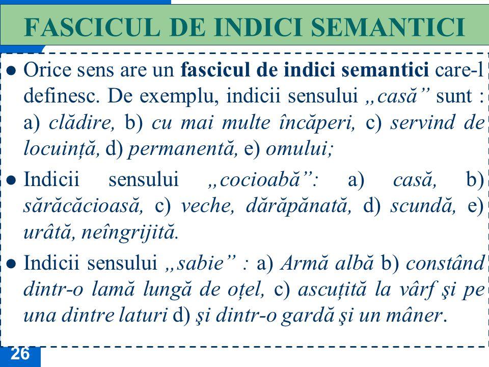 FASCICUL DE INDICI SEMANTICI