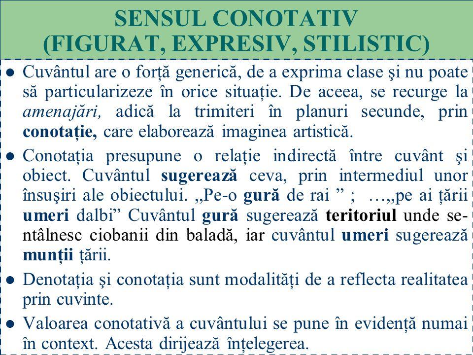 SENSUL CONOTATIV (FIGURAT, EXPRESIV, STILISTIC)