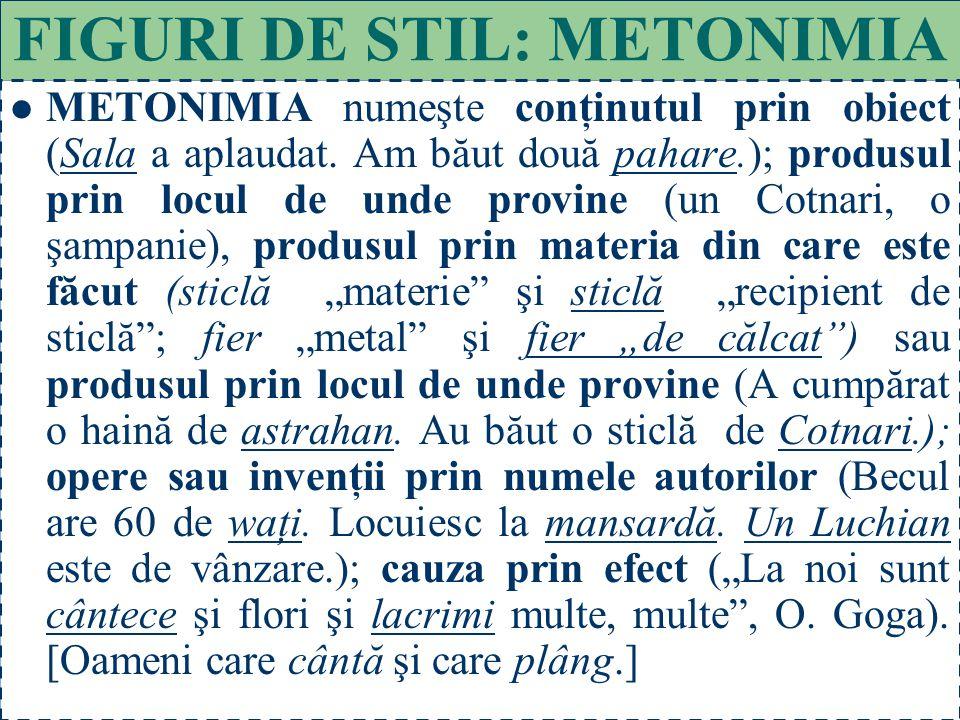FIGURI DE STIL: METONIMIA