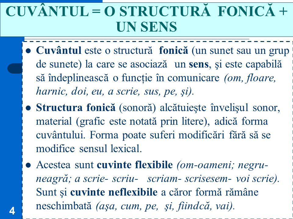 CUVÂNTUL = O STRUCTURĂ FONICĂ + UN SENS