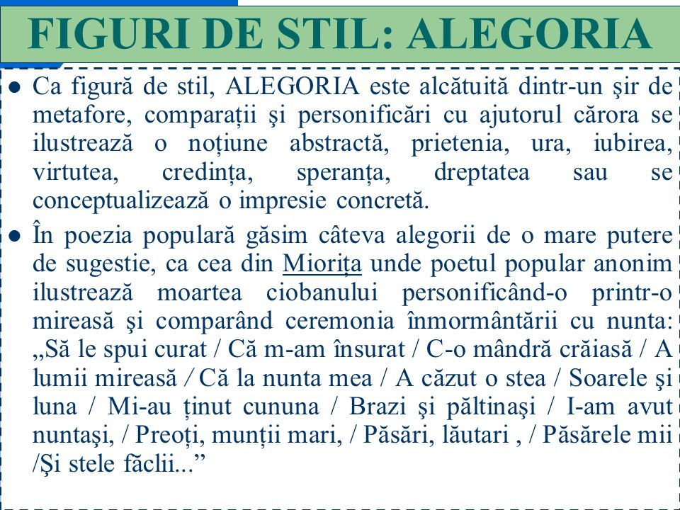FIGURI DE STIL: ALEGORIA