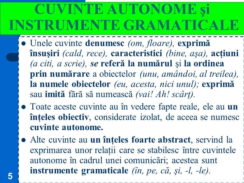 CUVINTE AUTONOME şi INSTRUMENTE GRAMATICALE