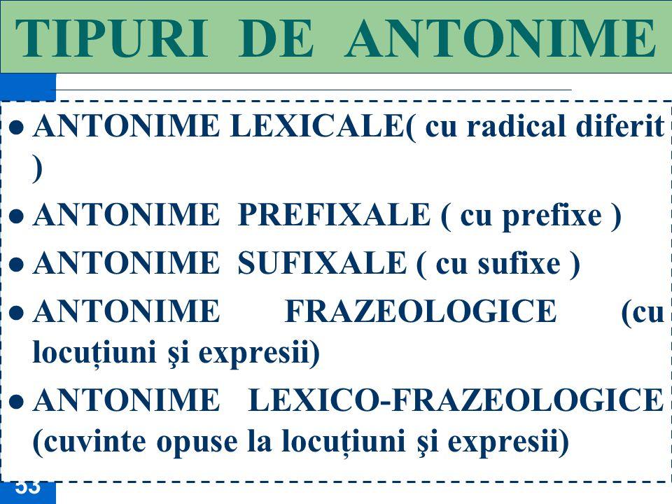 TIPURI DE ANTONIME ANTONIME LEXICALE( cu radical diferit )