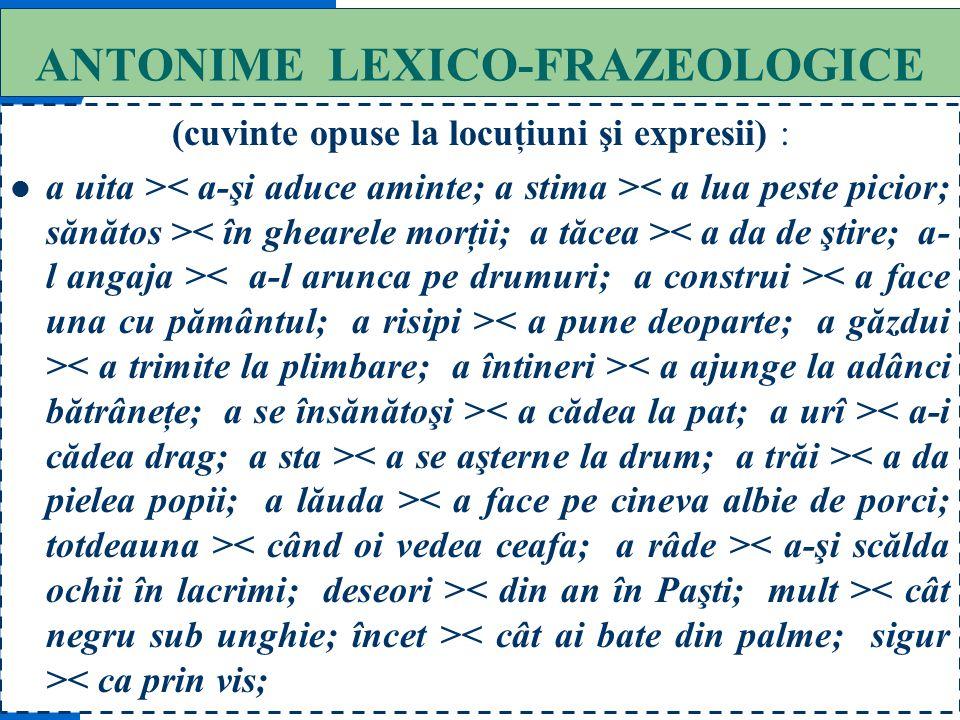 ANTONIME LEXICO-FRAZEOLOGICE