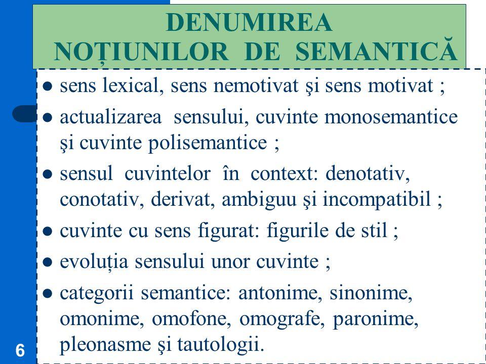 DENUMIREA NOŢIUNILOR DE SEMANTICĂ