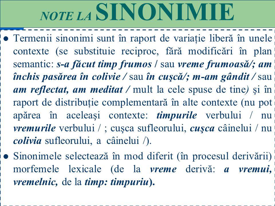 NOTE LA SINONIMIE