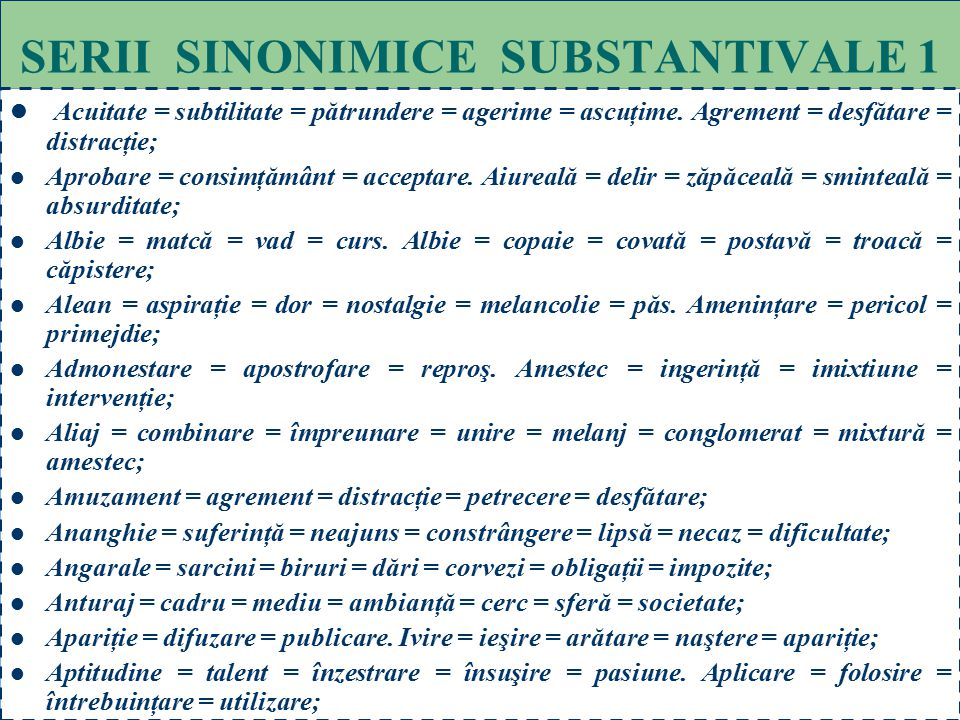SERII SINONIMICE SUBSTANTIVALE 1