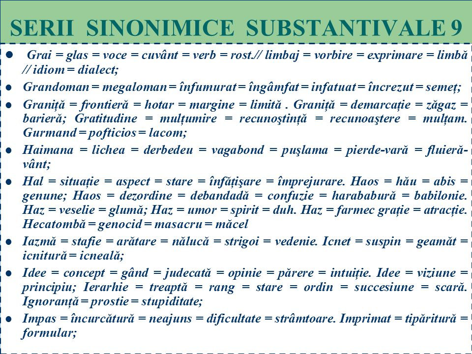 SERII SINONIMICE SUBSTANTIVALE 9