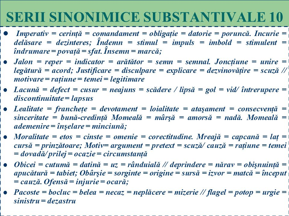 SERII SINONIMICE SUBSTANTIVALE 10