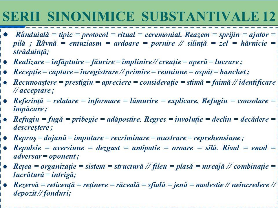 SERII SINONIMICE SUBSTANTIVALE 12