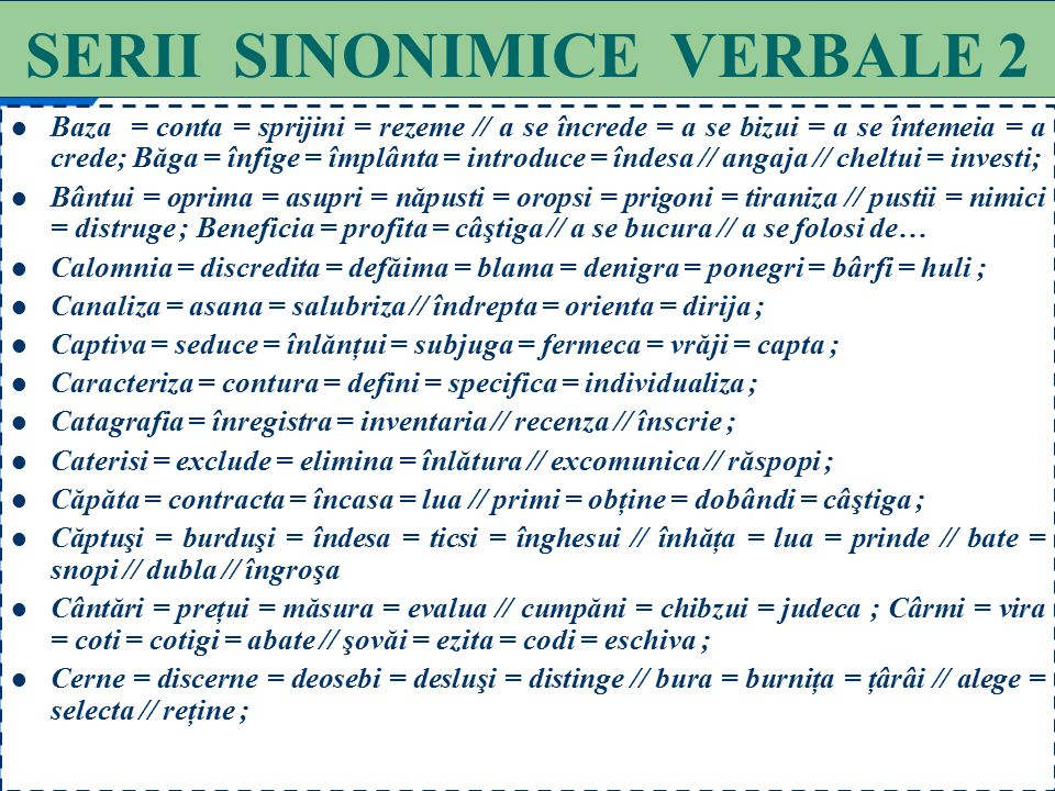 SERII SINONIMICE VERBALE 2