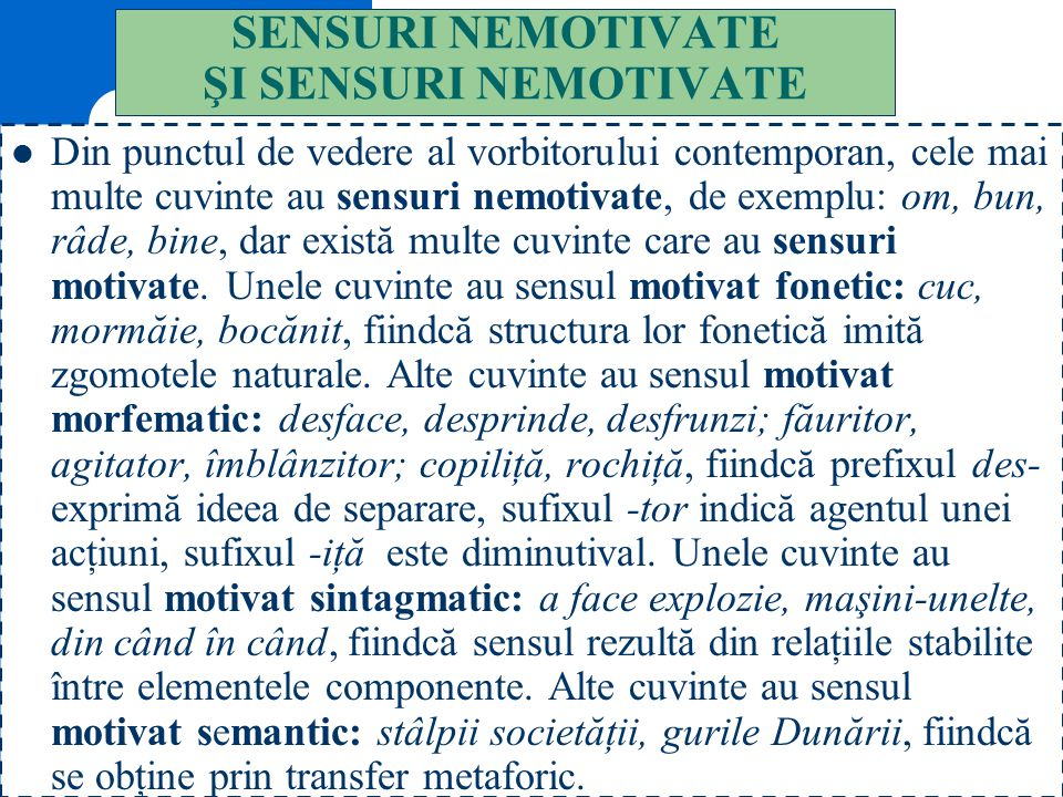 SENSURI NEMOTIVATE ŞI SENSURI NEMOTIVATE