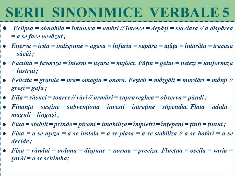 SERII SINONIMICE VERBALE 5