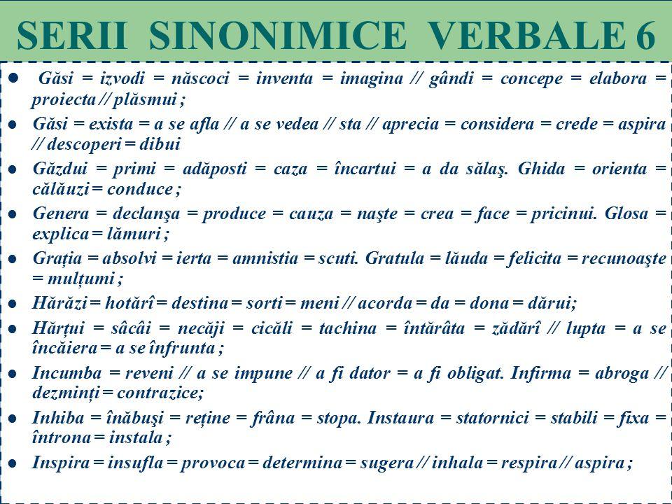 SERII SINONIMICE VERBALE 6