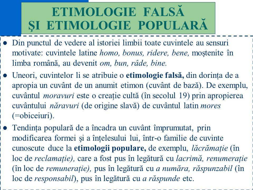 ETIMOLOGIE FALSĂ ŞI ETIMOLOGIE POPULARĂ