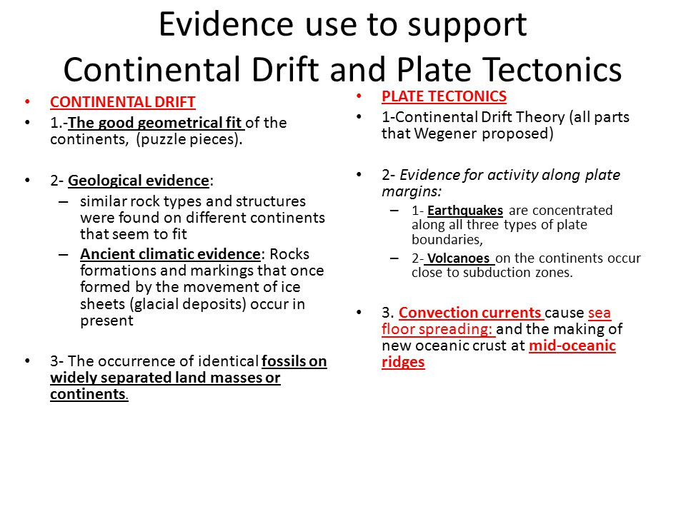 Evidence use to support Continental Drift and Plate Tectonics