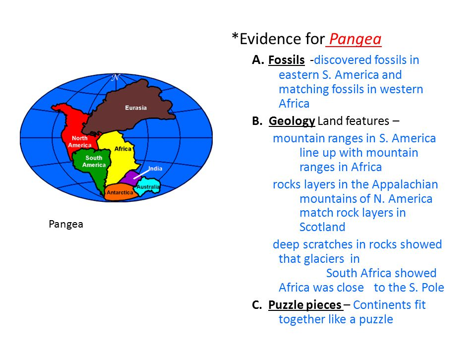 *Evidence for Pangea A. Fossils -discovered fossils in eastern S. America and matching fossils in western Africa.
