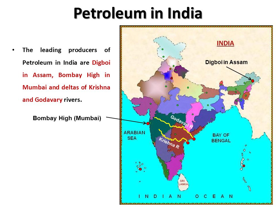 Petroleum in India The leading producers of Petroleum in India are Digboi in Assam, Bombay High in Mumbai and deltas of Krishna and Godavary rivers.