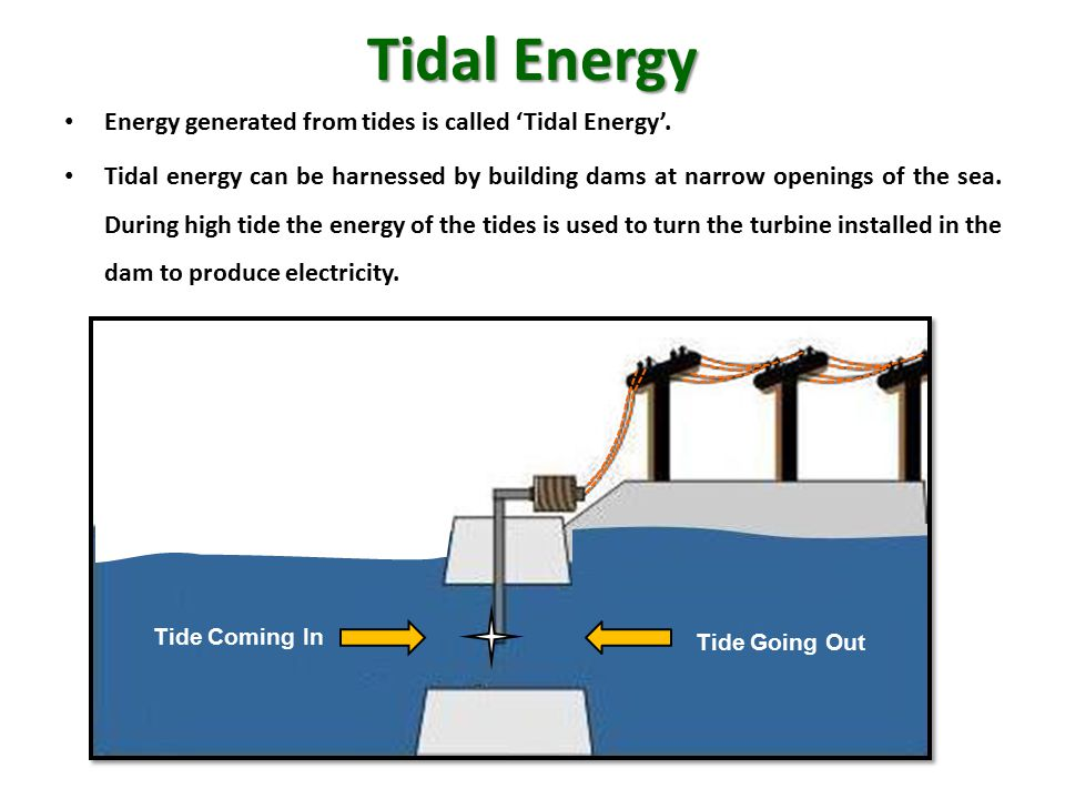 Tidal Energy Energy generated from tides is called 'Tidal Energy'.