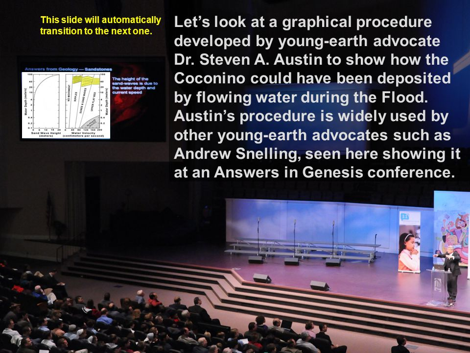 Let's look at a graphical procedure developed by young-earth advocate Dr. Steven A. Austin to show how the Coconino could have been deposited by flowing water during the Flood. Austin's procedure is widely used by other young-earth advocates such as Andrew Snelling, seen here showing it at an Answers in Genesis conference.