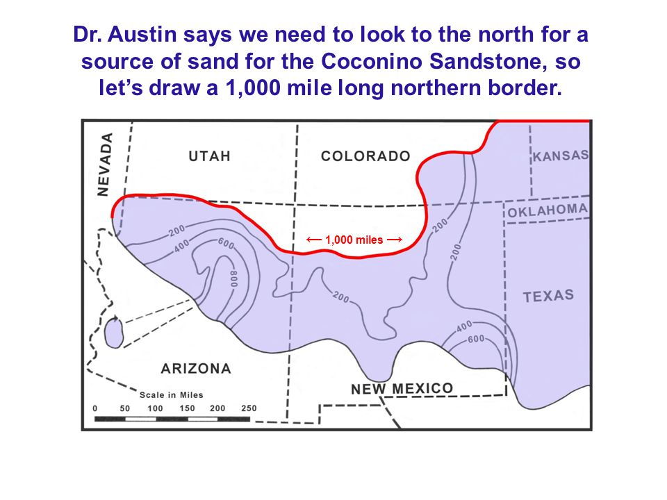 Dr. Austin says we need to look to the north for a source of sand for the Coconino Sandstone, so let's draw a 1,000 mile long northern border.