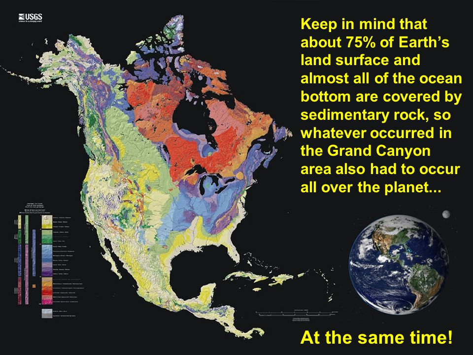 Keep in mind that about 75% of Earth's land surface and almost all of the ocean bottom are covered by sedimentary rock, so whatever occurred in the Grand Canyon area also had to occur all over the planet...