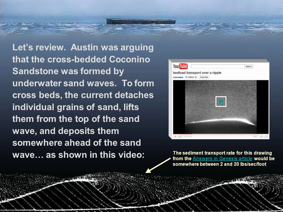 Let's review. Austin was arguing that the cross-bedded Coconino Sandstone was formed by underwater sand waves. To form cross beds, the current detaches individual grains of sand, lifts them from the top of the sand wave, and deposits them somewhere ahead of the sand wave… as shown in this video:
