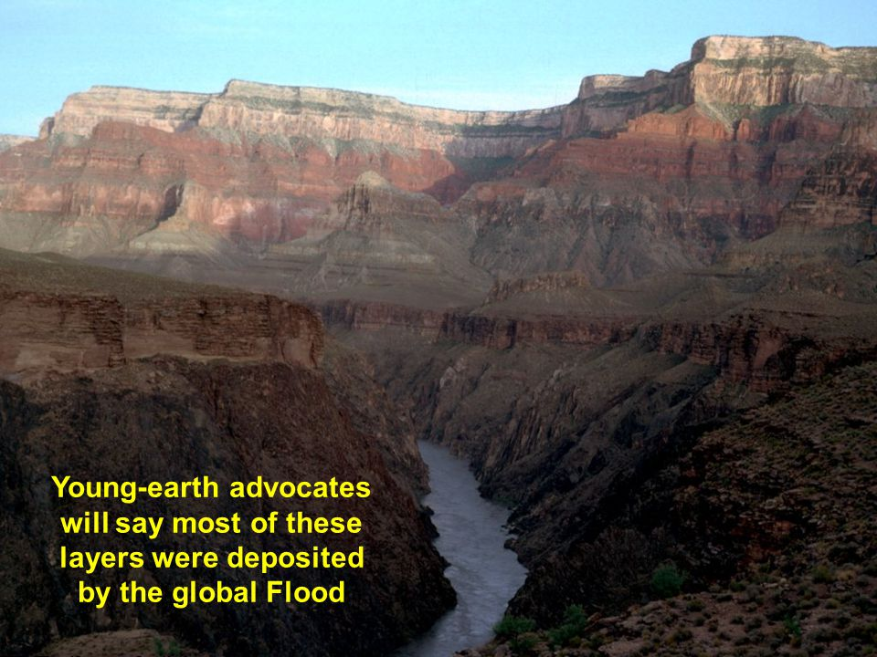 young-earth advocates will say most of these layers were deposited by the global Flood