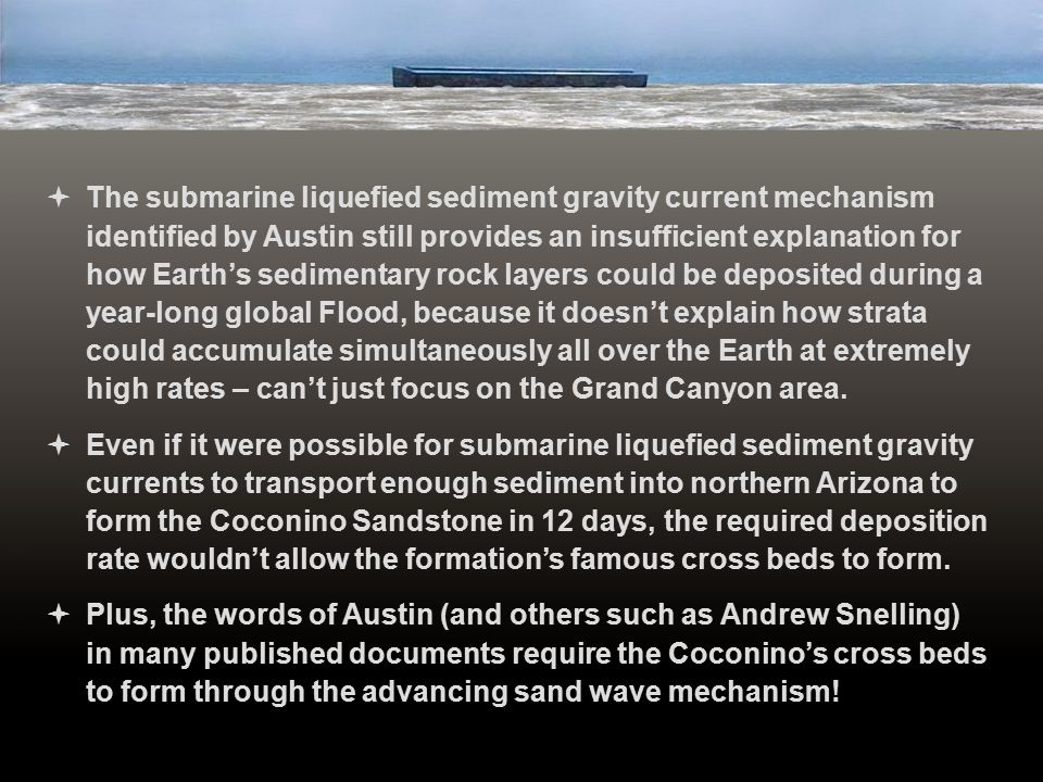 The submarine liquefied sediment gravity current mechanism identified by Austin still provides an insufficient explanation for how Earth's sedimentary rock layers could be deposited during a year-long global Flood, because it doesn't explain how strata could accumulate simultaneously all over the Earth at extremely high rates – can't just focus on the Grand Canyon area.