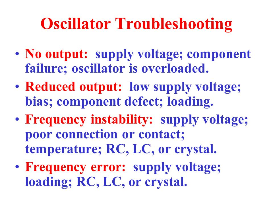 Oscillator Troubleshooting