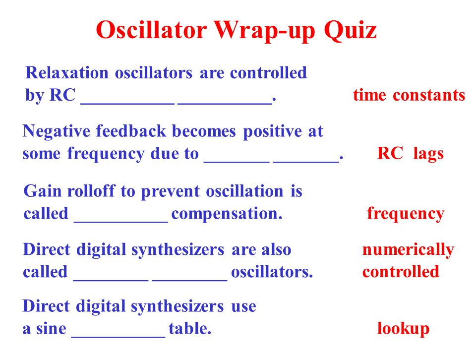 Oscillator Wrap-up Quiz