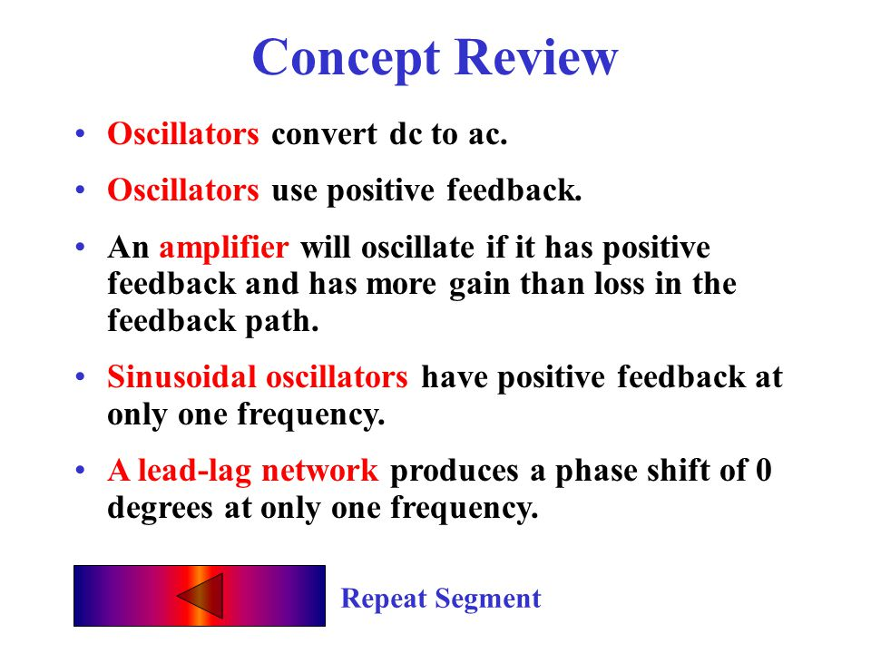 Concept Review Oscillators convert dc to ac.