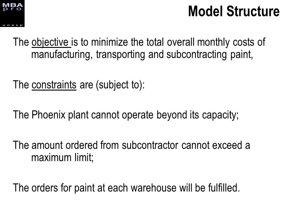 Model Structure The objective is to minimize the total overall monthly costs of manufacturing, transporting and subcontracting paint,