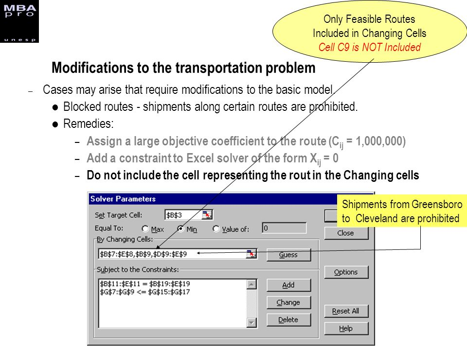 Modifications to the transportation problem