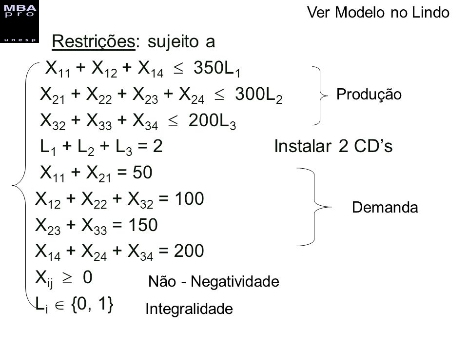 Restrições: sujeito a X11 + X12 + X14  350L1