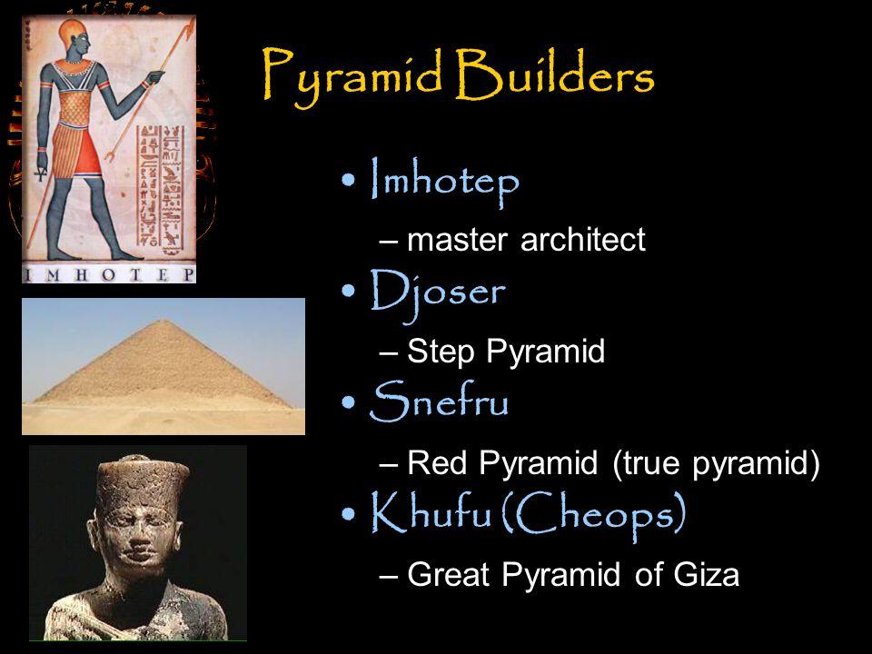 Pyramid Builders Imhotep Djoser Snefru Khufu (Cheops) master architect