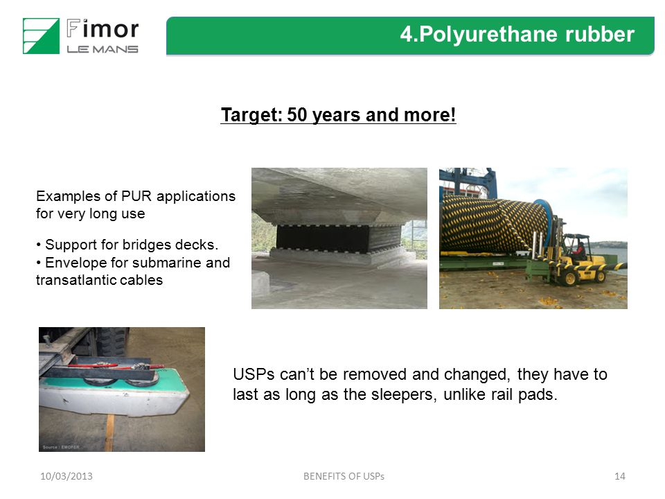 4.Polyurethane rubber Target: 50 years and more!