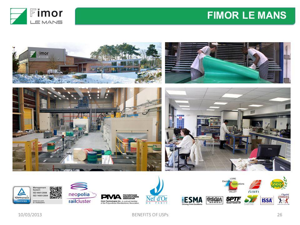FIMOR LE MANS 10/03/2013 BENEFITS OF USPs