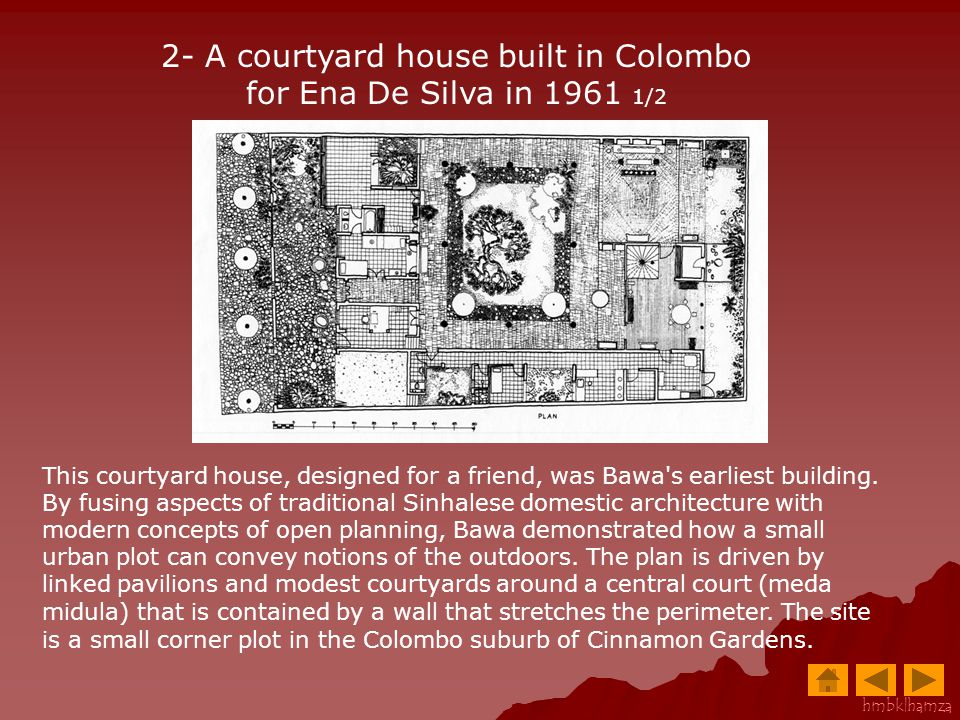 2- A courtyard house built in Colombo for Ena De Silva in 1961 1/2