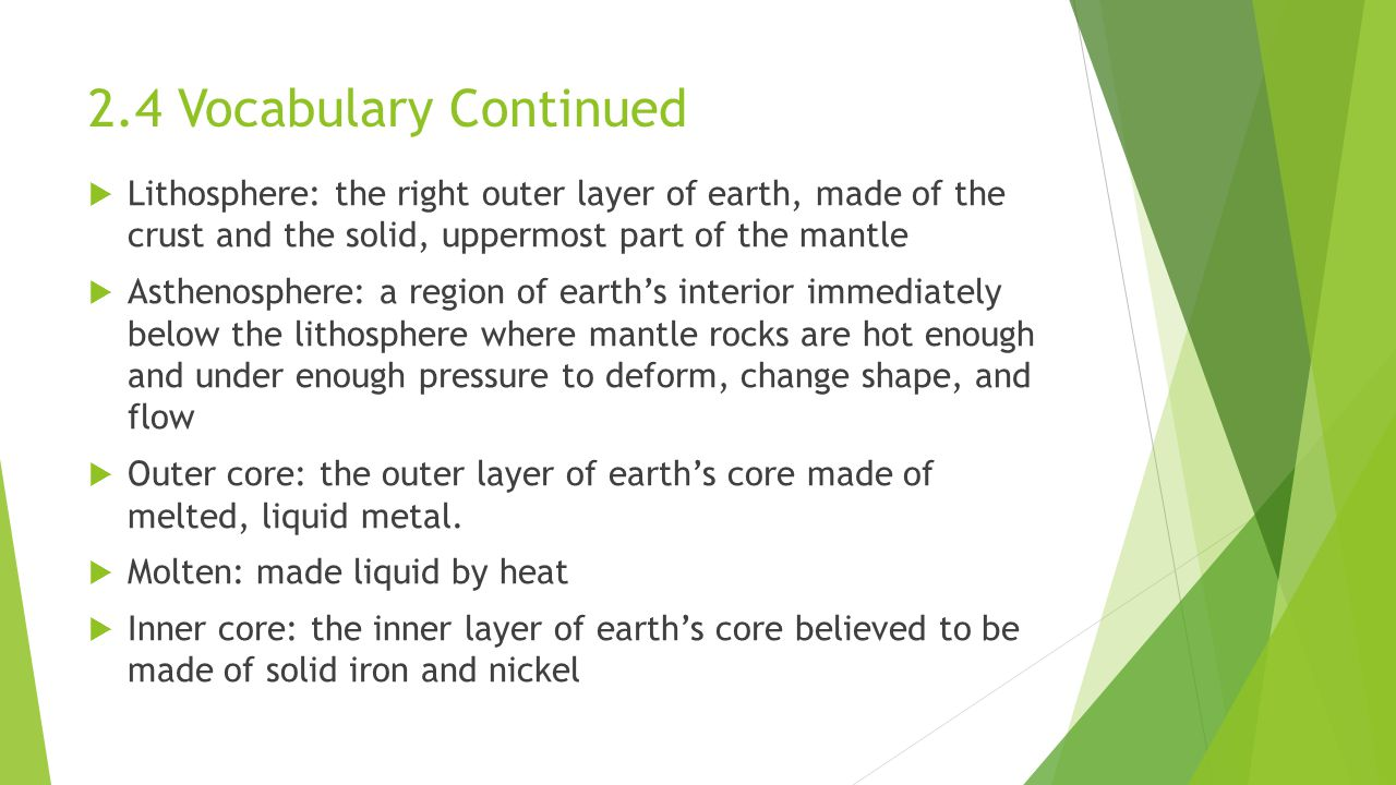 2.4 Vocabulary Continued Lithosphere: the right outer layer of earth, made of the crust and the solid, uppermost part of the mantle.