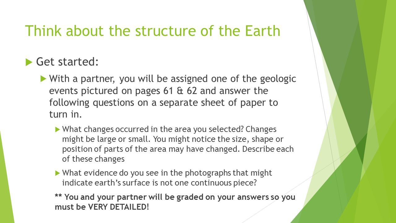Think about the structure of the Earth