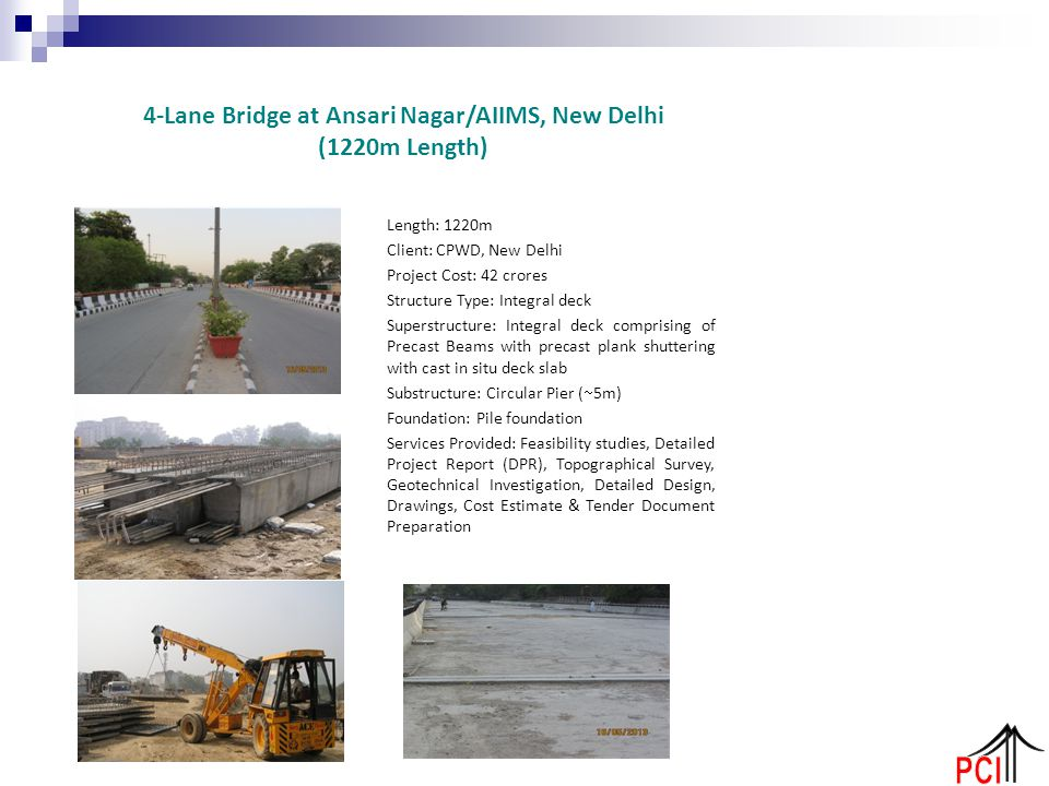 4-Lane Bridge at Ansari Nagar/AIIMS, New Delhi (1220m Length)