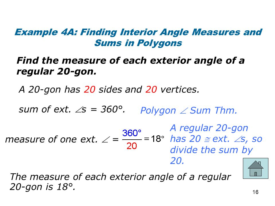 Example 4A: Finding Interior Angle Measures and Sums in Polygons