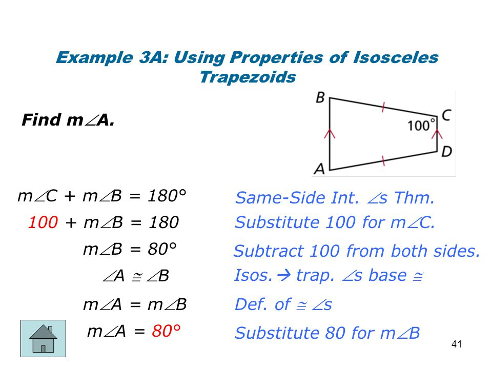 Example 3A: Using Properties of Isosceles Trapezoids