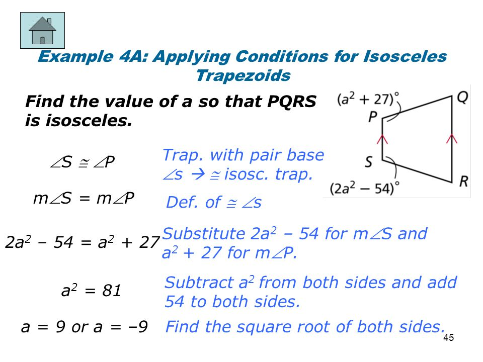 Example 4A: Applying Conditions for Isosceles Trapezoids