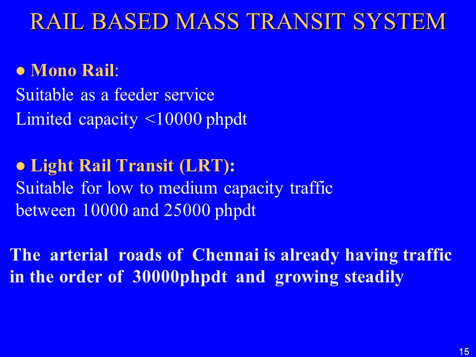 RAIL BASED MASS TRANSIT SYSTEM