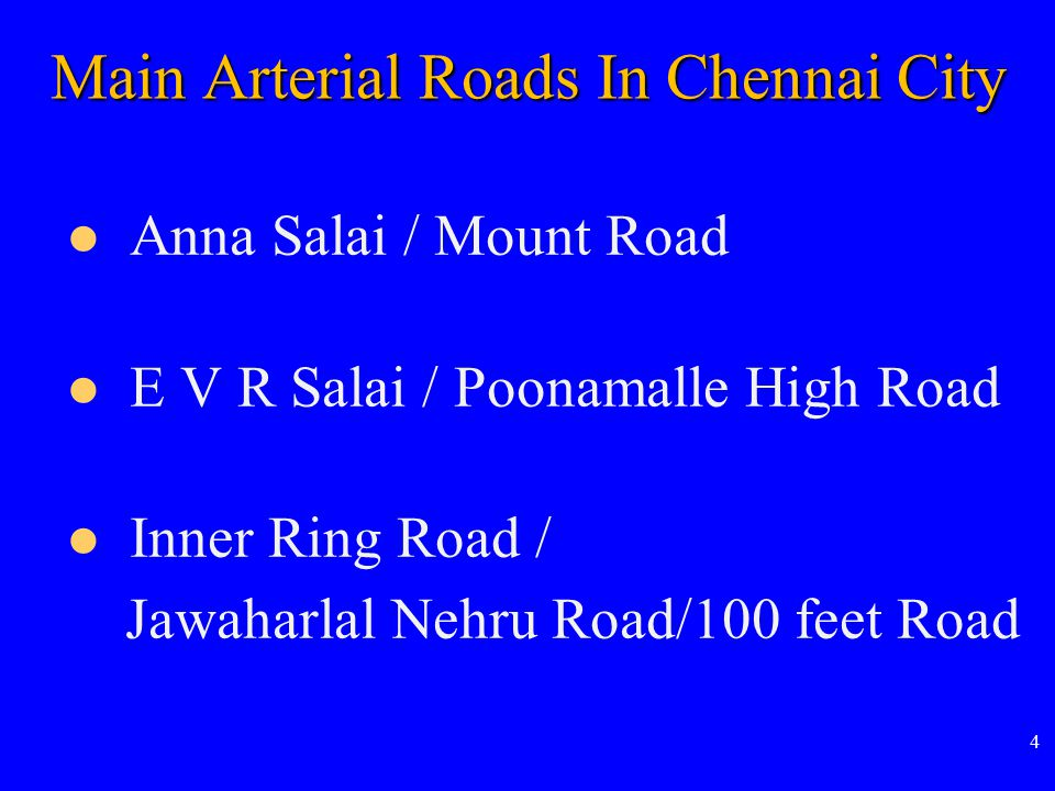 Main Arterial Roads In Chennai City